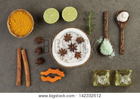 Beautiful Herbal Spa Concept With Coconut, Turmeric, Lime, Cinnamon, Anise, Scrub, Salt Sea, Rosemar