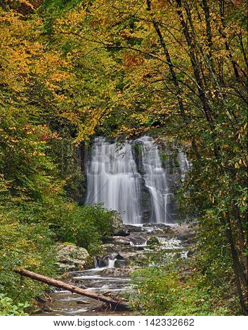 Smokey Mountain Waterfall in Early Autumn Color