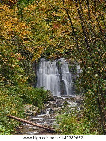 Smokey Mountain Waterfall in Early Autumn Color