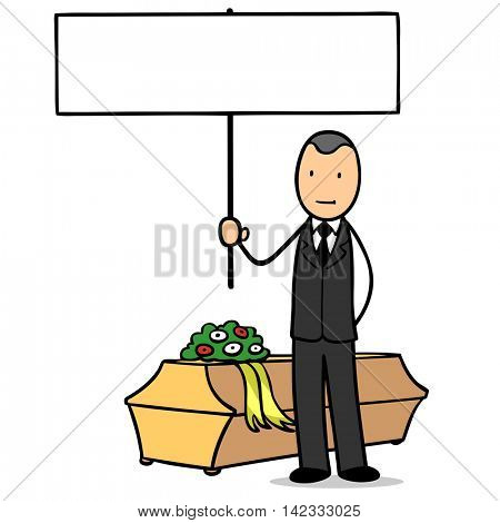 Cartoon undertaker with coffin at funeral holding up an empty sign