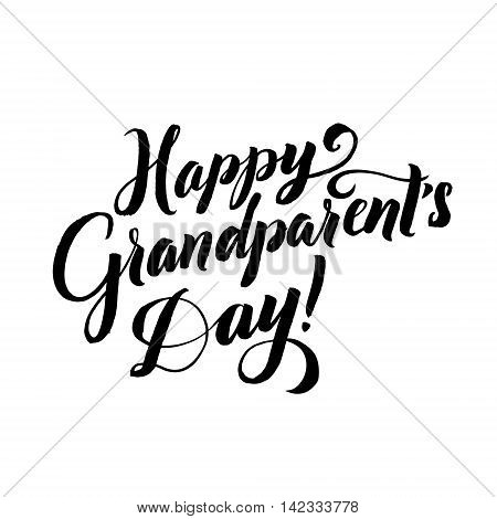 Happy Grandparents Day Calligraphy on White Background.