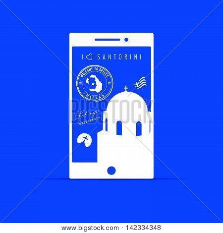 Greek Island Santorini Paradise On Mobile Phone Illustration On Blue