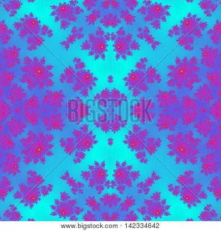 Bright purple and aquamarine tile of seamless pattern