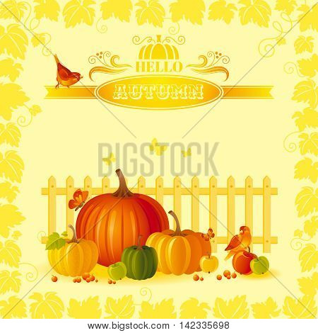 Vector illustration of beautiful autumn still life on sunny background in modern elegant style, text lettering, copy space. Countryside fall farm thanksgiving symbols - fruits and vegetables, pumpkin