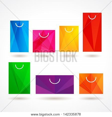 Set of colored sopping package simbols. Sign for retail, sale, discount, shop, store and other business.