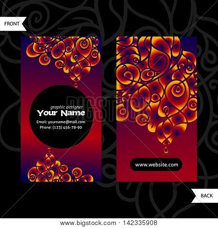Colorful decorative design of business card with swirling waves. Modern style