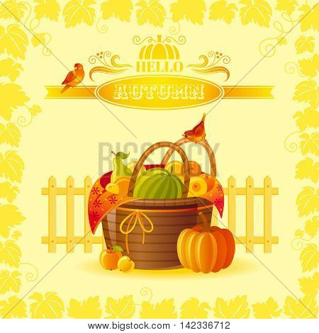 Vector illustration of beautiful autumn still life on sunny background in modern elegant style, text lettering, copy space. Countryside fall farm thanksgiving symbols - picnic basket, pumpkin, fruits