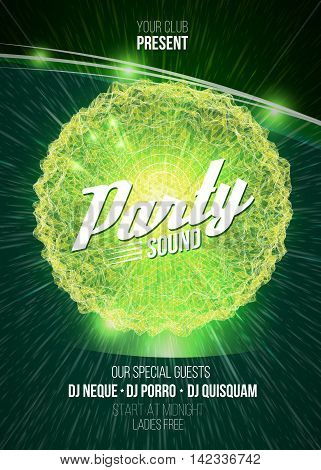 Party neon sign. 3D illuminated distorted sphere of glowing triangles, wireframe, light effect. Music party. Vector illustration