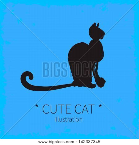 Vector illustration. Cute cat on a blue background.