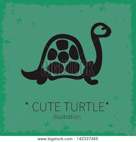 Vector illustration. Cute turtle on a green background.