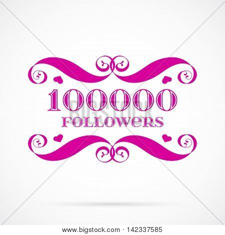 Vector 10000 followers badge over white. Easy use and recolor elements for your design.