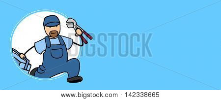 Fast cartoon plumber running with blue copyspace