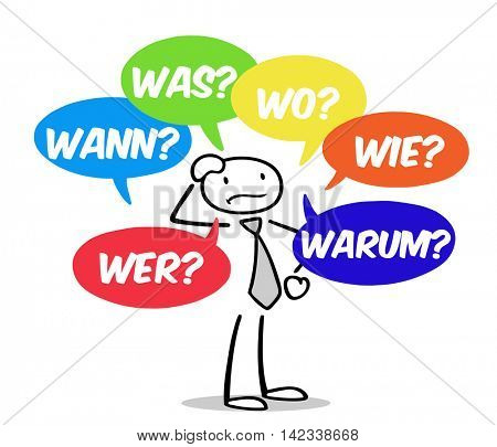 Cartoon man asking German questions