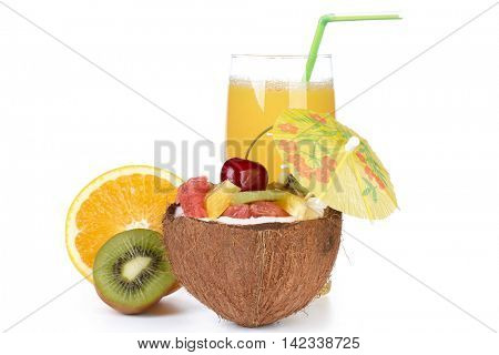 Fresh fruit salad and juice on a white background. Dessert.