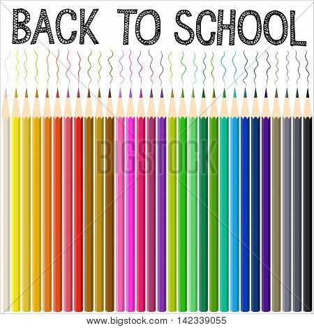 Modern school background with color pencil. Back to school doodle text. Vector illustration.