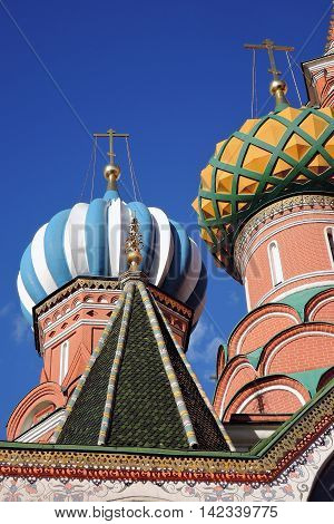 St. Basil Cathedral Red Square Moscow Russia. UNESCO World Heritage Site.