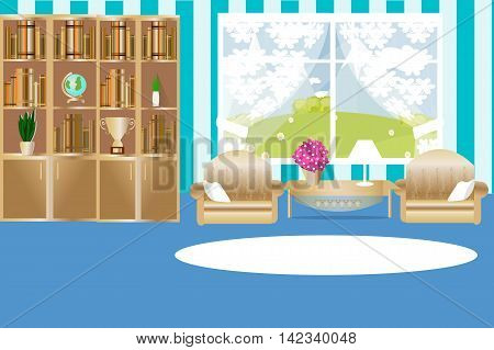 The interior of the living room, window, curtains, bookcase, coffee table, armchair, pillow, rug, houseplant, lamp, vector illustration, blue color