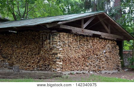 The woodshed filled by fuel wood photo