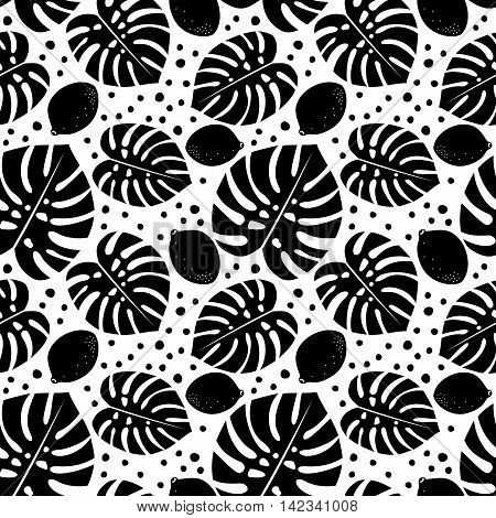Black and white seamless decorative pattern with lemons and palm leaves. Tropical monstera leaves background with lemons and dots. Trendy Jungle illustration. Design for textile, wallpaper, fabric etc