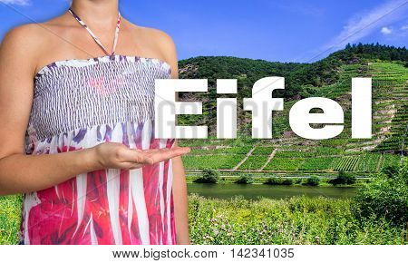 Eifel concept presented by woman background picture