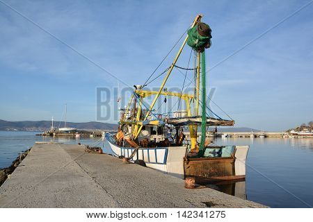 Fishing boat at a harbor Nessebar Bulgaria