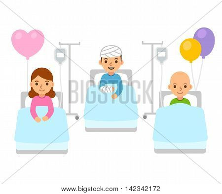 Sick children in hospital beds with bandages and IV drip. Cute flat cartoon kids disease treatment illustration.