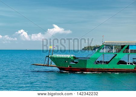 View of passenger ferry boat at Chang island. Koh Chang is the second largest island of Thailand.