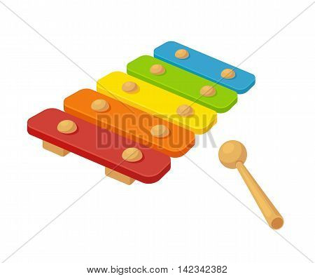 Toy xylophone vector illustration. Bright cartoon childrens instrument.