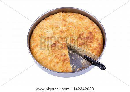 Traditional bulgarian food banitsa stuffed with cheese isolated