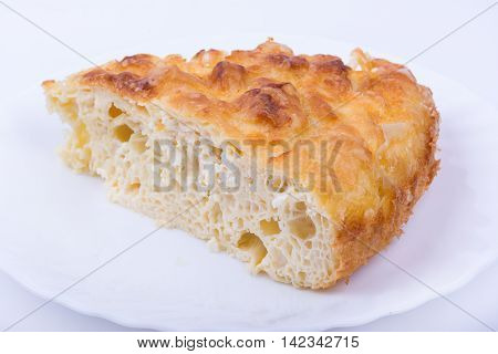 Traditional bulgarian food banitsa stuffed with cheese