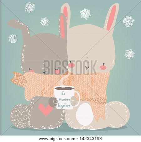 cute hares with scarf and coffee cup