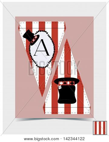 Bunting design - Hatter Hat from Wonderland. Printable Vector Illustration for Graphic Projects Parties scrapbook and the Internet .