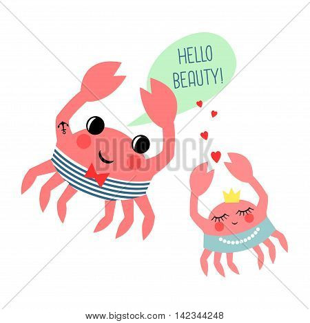 Hello beauty card with cute cartoon sailor crab and crab girl on white background. Marine life character vector illustration.