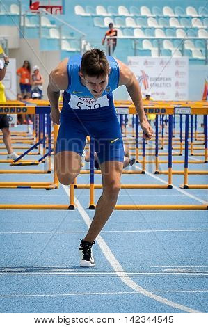 OVCHARENKO Oleksiy from Ukraine during Run the hurdles competition at the European Athletics Youth Championships in the Athletics Stadium Tbilisi Georgia 14 July 2016