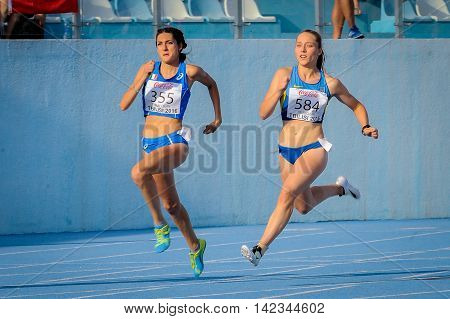 MARCHAK Iryna from Ukraine during 200 m run competition at the European Athletics Youth Championships in the Athletics Stadium Tbilisi Georgia 14 July 2016