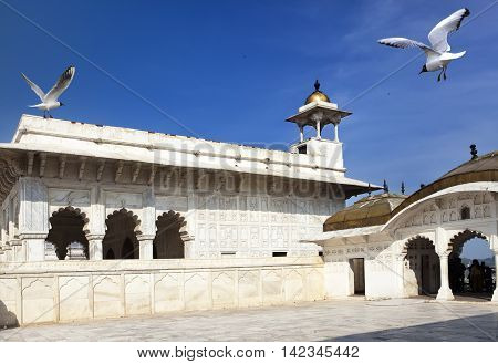 The white palace in the Red fort. Agra. India.