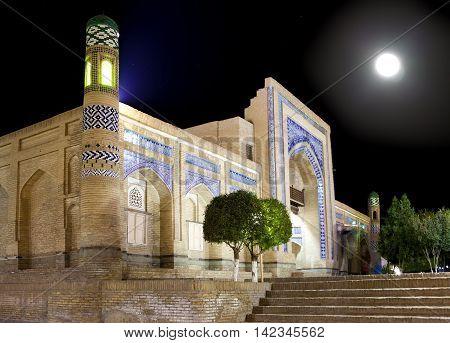 Uzbekistan. Khiva. Streets of the old city in night illumination.