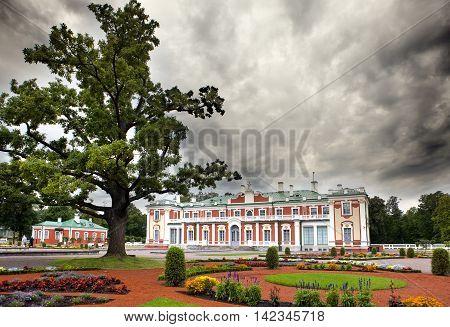TALLINN ESTONIA- SEPTEMBER 7 2015: Kadriorg Palace at Kadriorg Park on September 7 2015 in Tallinn Estonia.