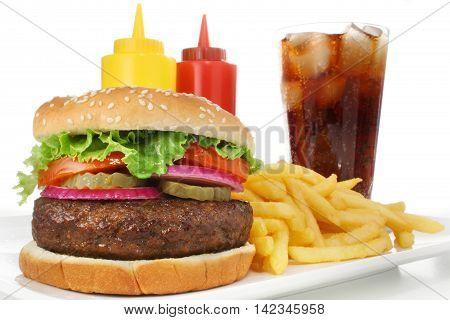 Set of fast food abundance, junk, background