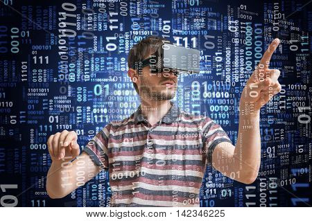 Hacker Is Wearing 3D Virtual Reality Glasses And Is Hacking Bina