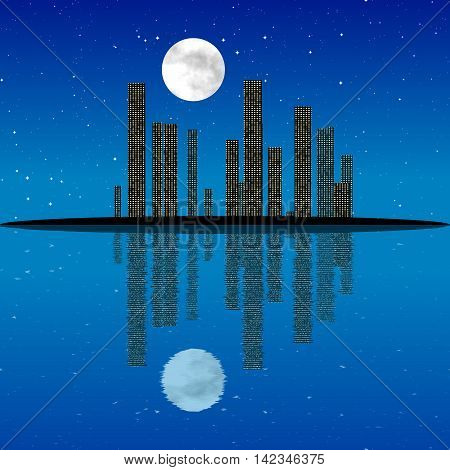 Night cityscape generated texture with moon, 3D illustration