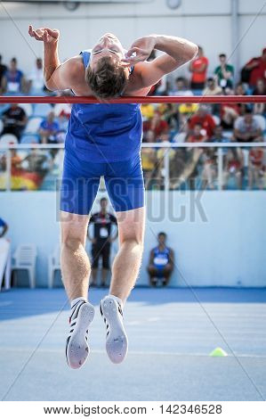 MOKRYAK Anton from Ukraine during high jump boys competition at the European Athletics Youth Championships in the Athletics Stadium Tbilisi Georgia 14 July 2016