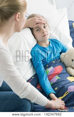 Worried About Her Sick Schoolboy