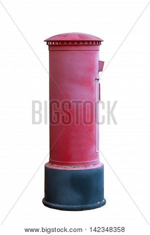 old London postbox isolated on white background with clipping path.