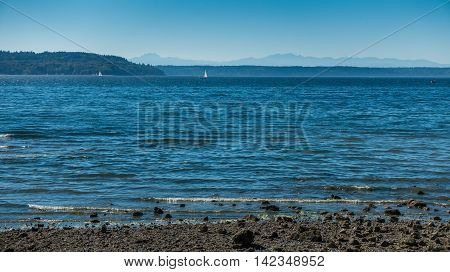 A view of the Puget Sound with the Olympic Mountains in the distance.