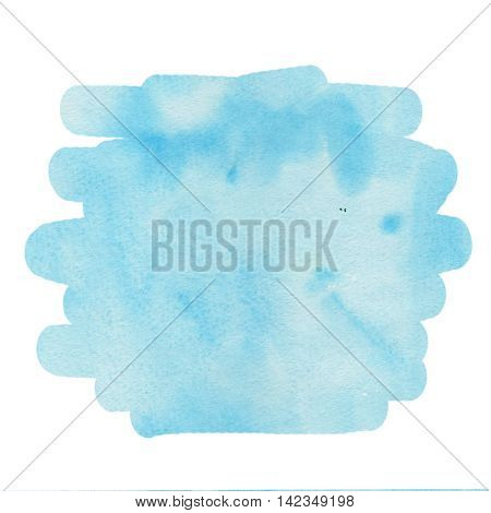 Watercolor blue background for text, texture of watercolor paper