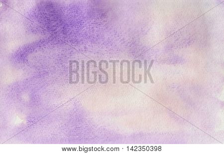 Watercolor purple background, texture of watercolor paper