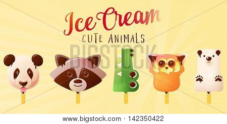 Cute Animals Ice Cream. Funny Summer vector illustration isolated on vintage background.