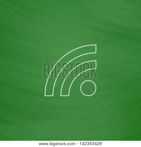 RSS Outline vector icon. Imitation draw with white chalk on green chalkboard. Flat Pictogram and School board background. Illustration symbol
