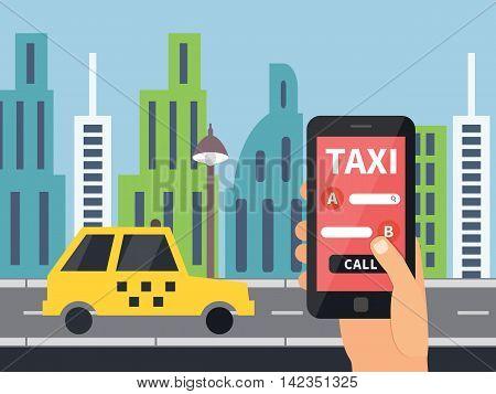 Public taxi online service, mobile application. Flat vector app illustration.